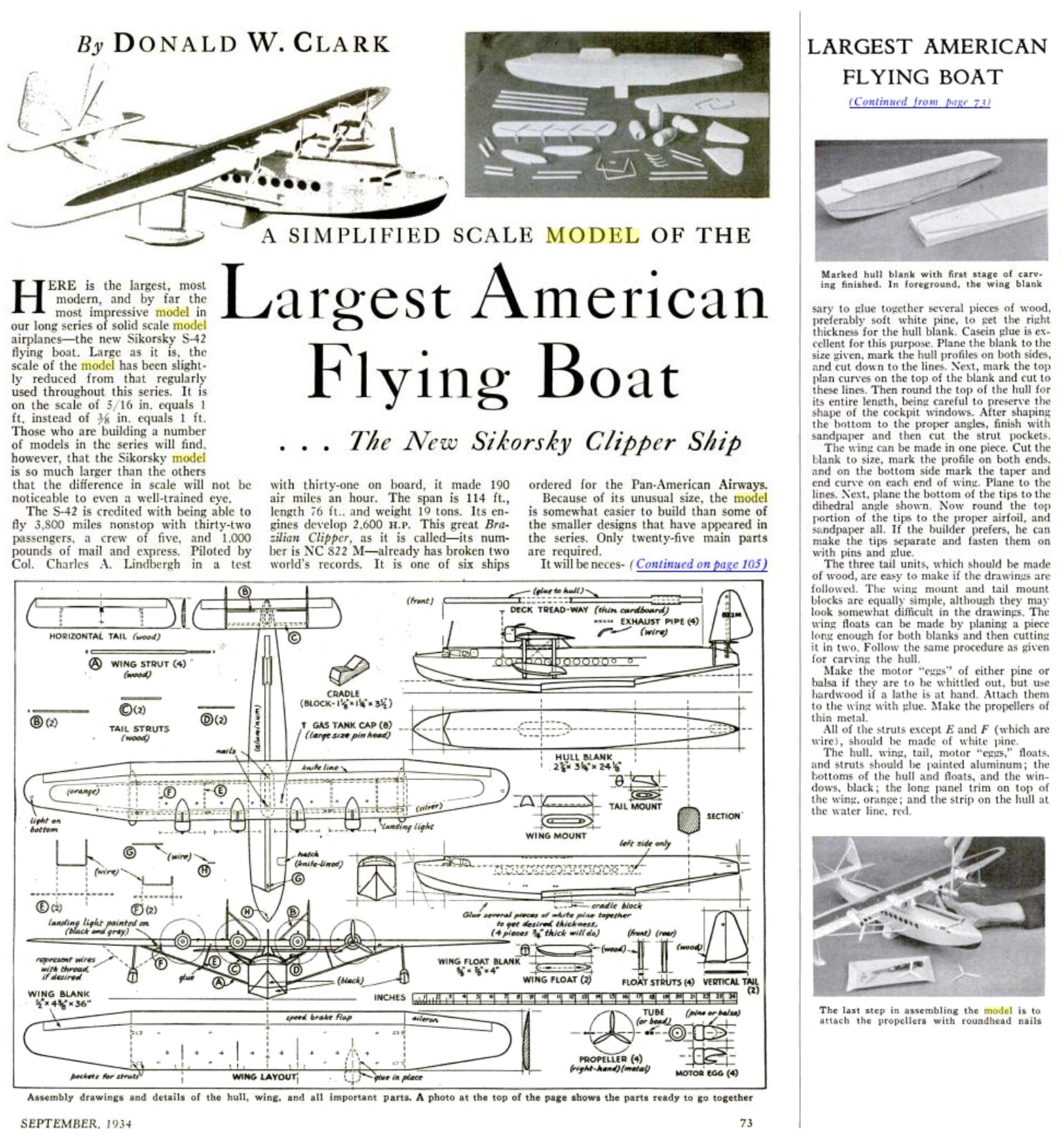 Popular Science Monthly - Sikorsky S-42 Clipper Flying boat - Solid